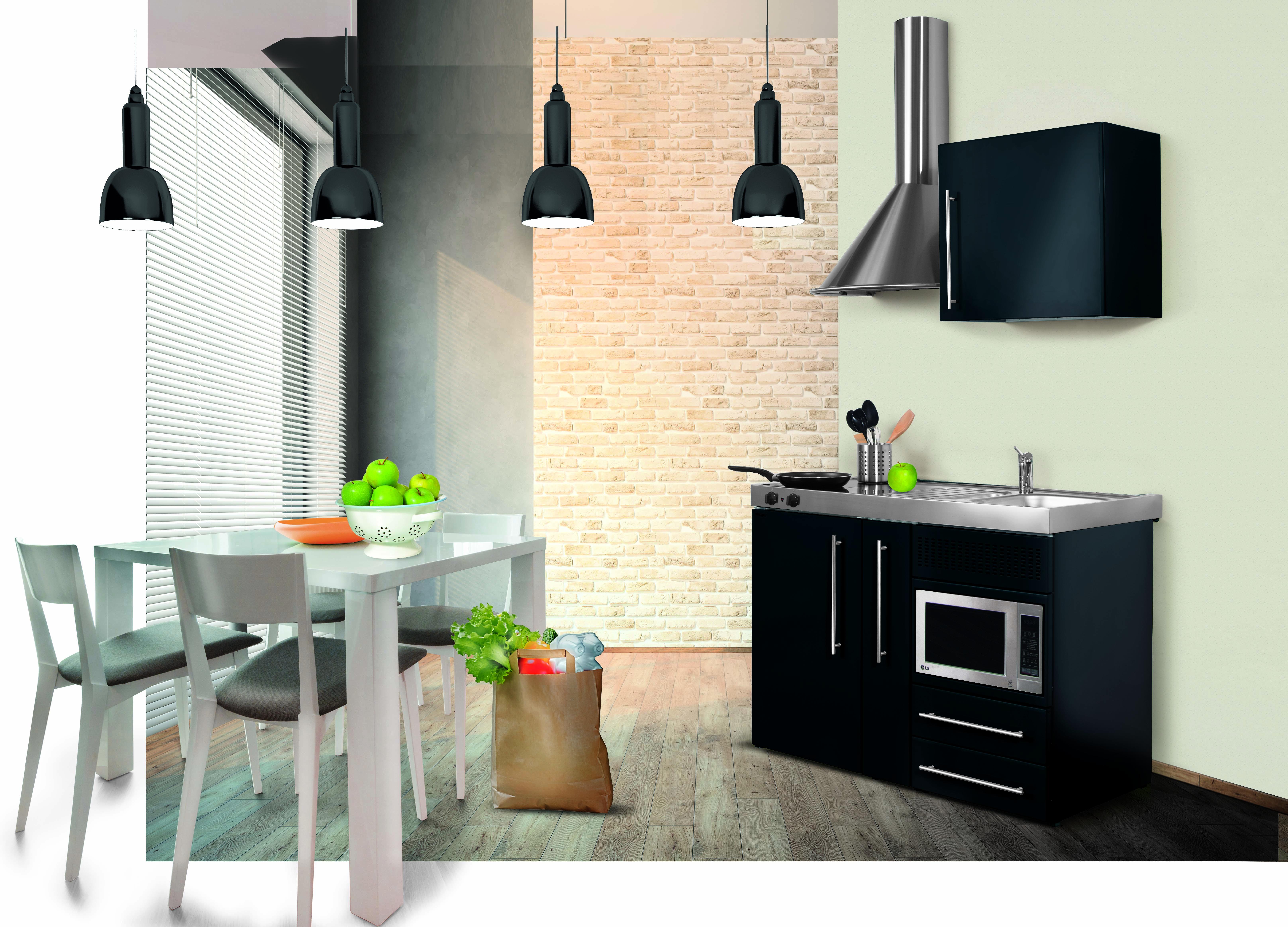 Miniküche Mit Kühlschrank : Respekta miniküche cm weiss mit edelstahl oder